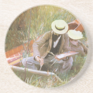Paul Helleu Sketching with His Wife by Sargent Coaster