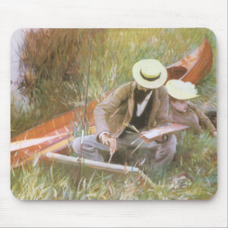 Paul Helleu Sketching with His Wife by Sargent Mouse Pad