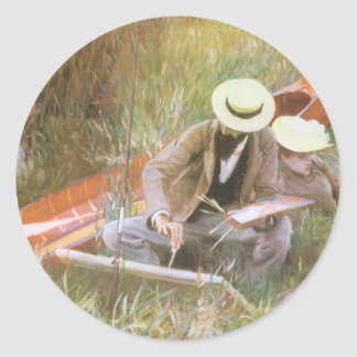 Paul Helleu Sketching with His Wife by Sargent Classic Round Sticker