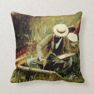 Paul Helleu Sketching with his Wife Throw Pillow