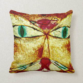 Paul Klee art: Cat and Bird Throw Pillows