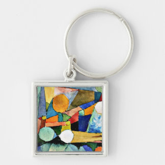 Paul Klee art: Colour-Shapes Silver-Colored Square Keychain