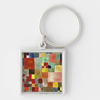 Paul Klee art: Flora on Sand, famous painting Silver-Colored Square Keychain