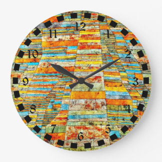 Paul Klee art: Highway and Byways Large Clock