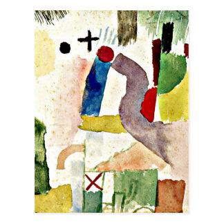 Paul Klee art - Pathetic Watercolor, Red Postcard