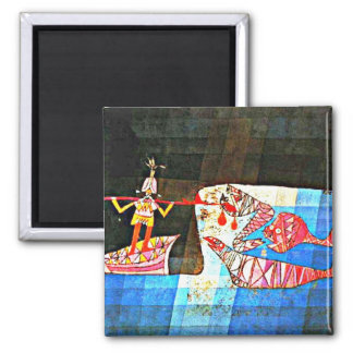 Paul Klee art: The Seafarer 2 Inch Square Magnet