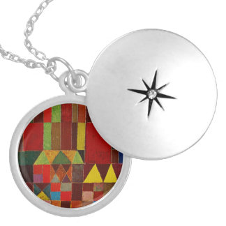 Paul Klee Castle And Sun Round Locket Necklace