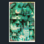 "Paul Klee Dream City Print<br><div class=""desc"">Paul Klee Dream City print. Water color on canvas from 1921. Swiss German artist Paul Klee created some of the most visually dynamic abstract paintings of the twentieth century. Dream City is a cubist work featuring vibrant greens, turqoises, and aqua marines. The shape of trees, buildings and the cresceny moon...</div>"