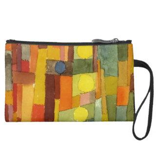 Paul Klee In The Style Of Kairouan Watercolor Art Suede Wristlet Wallet