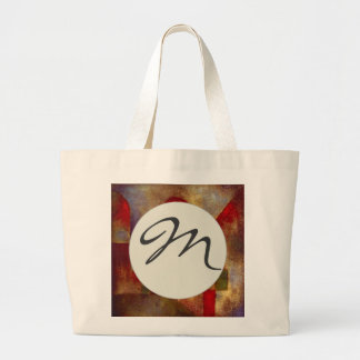 Paul Klee Red Balloon Colorful Abstract Monogram Large Tote Bag