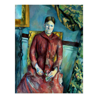 Paul Madame Cézanne in a Red Dress Poster