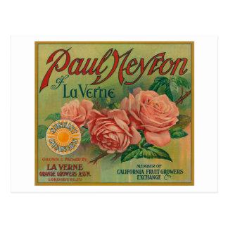 Paul Neyron of La Verne Orange Label Postcard