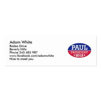 Paul President 2012 Double-Sided Mini Business Cards (Pack Of 20)
