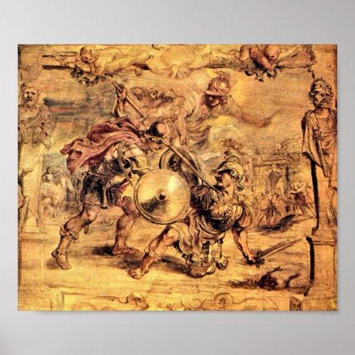 Paul Rubens - Aquiles derrota a Hector Posters