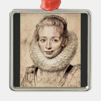 Paul Rubens - Portrait of the artists daughter Cla Square Metal Christmas Ornament