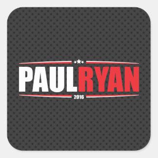 Paul Ryan 2016 (estrellas y rayas - negro) Pegatina Cuadrada