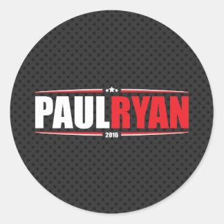 Paul Ryan 2016 (estrellas y rayas - negro) Pegatina Redonda
