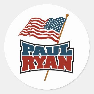 Paul Ryan American Flag Classic Round Sticker