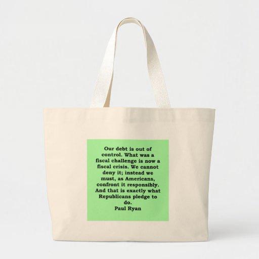 paul ryan quote tote bags
