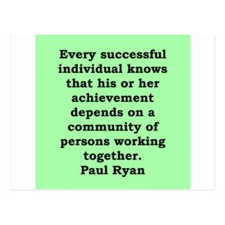 paul ryan quote postcard