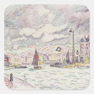 Paul Signac- Le Havre with rain clouds Square Sticker