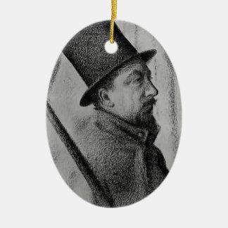 Paul Signac- Portrait of Conté Double-Sided Oval Ceramic Christmas Ornament