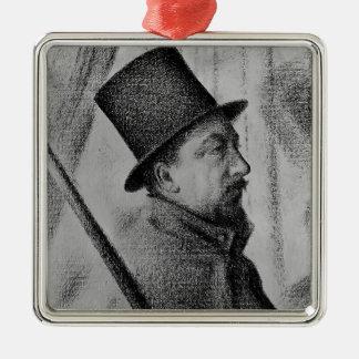 Paul Signac- Portrait of Conté Square Metal Christmas Ornament