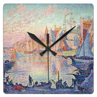 "Paul Signac, ""The Port of Saint-Tropez"" Square Wall Clock"
