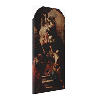 Paul Troger - St John comforts the oppressed Canvas Print
