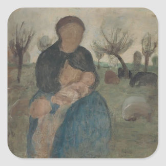 Paula Becker- Mother with baby at her breast Square Sticker