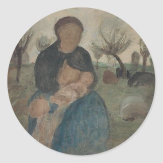 Paula Becker- Mother with baby at her breast Classic Round Sticker