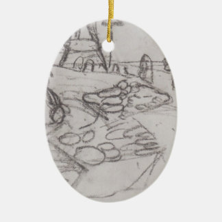 Paula Becker: Seated Woman in market stalls Double-Sided Oval Ceramic Christmas Ornament