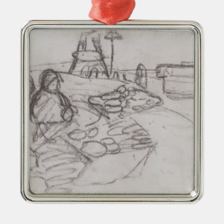 Paula Becker: Seated Woman in market stalls Square Metal Christmas Ornament