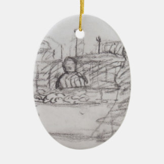 Paula Becker: Three women at a market stall Double-Sided Oval Ceramic Christmas Ornament