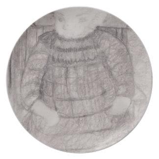 Paula Modersohn-Becker Seated child in Armchair Dinner Plates