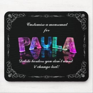 Paula  - The Name Paula in 3D Lights (Photograph) Mouse Pad