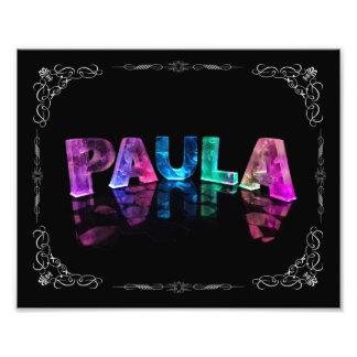 Paula  - The Name Paula in 3D Lights (Photograph) Photo Print