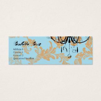 Paulette Paris Aqua Damask Chandelier Mini Business Card