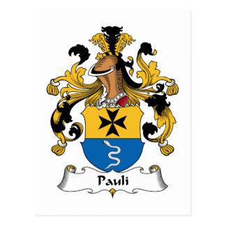 Pauli Family Crest Postcard