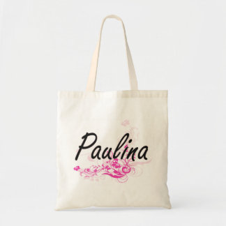 Paulina Artistic Name Design with Flowers Budget Tote Bag