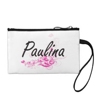 Paulina Artistic Name Design with Flowers Coin Purses