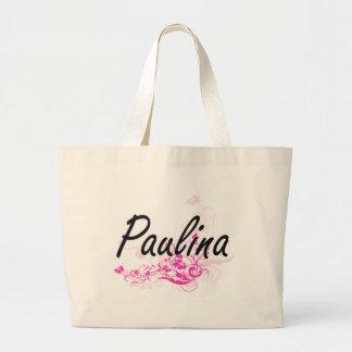 Paulina Artistic Name Design with Flowers Jumbo Tote Bag