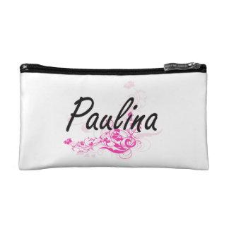 Paulina Artistic Name Design with Flowers Makeup Bags