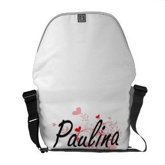 Paulina Artistic Name Design with Hearts Messenger Bag