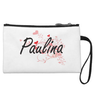 Paulina Artistic Name Design with Hearts Wristlet Purses