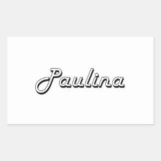 Paulina Classic Retro Name Design Rectangular Sticker