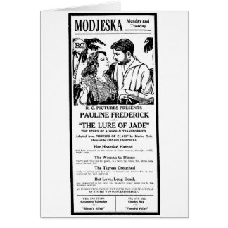 "Pauline Frederick ""The Lure of Jade"" 1921 movie ad Card"