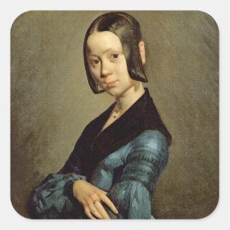 Pauline Ono  in Blue, 1841-42 Square Sticker