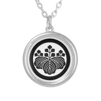Paulownia with 5&3 blooms in circle silver plated necklace