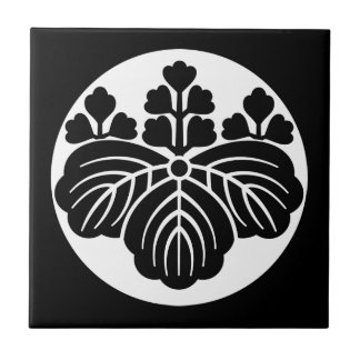 Paulownia with 5&3 blooms in rice cake ceramic tile